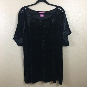 Woman Within black crushed velvet blouse sz 2X